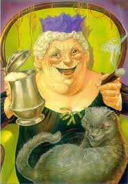 Nanny Ogg Greebo smoking drinking