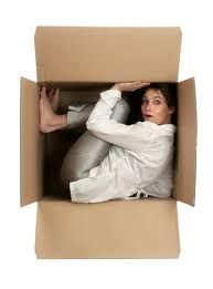 person in a box