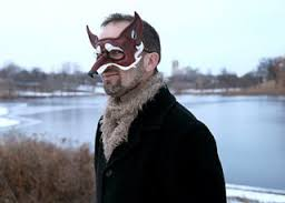 The author, William Alexander, wearing a mask like the ones in 'Goblin Secrets' Image: beyondthepalebooks.net
