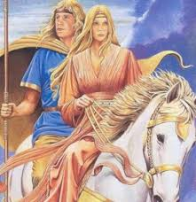Niamh and Oisin on horseback. This is not an illustration from the book in question - just in case! Image: celticanamcara.blogspot.com