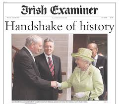 Newspaper account of the Queen's historic handshake with Sinn Féin politican and ex-IRA member, Martin McGuinness Image: andrewsherman.blogspot.com
