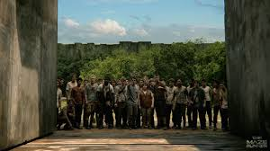 The Gladers standing in one of the Doors, which closes at night to protect them from the Grievers. Image: cinemablend.com