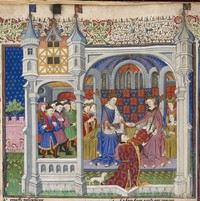 John Talbot's presentation of the Book of Shrewsbury to Queen Margaret of Anjou ca 1445 AD. Public domain, courtesy of the British Library Royal. Image sourced: flashfriday.wordpress.com