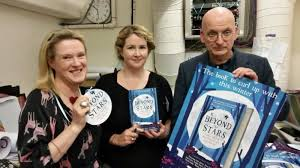 L-R: Sarah Webb, Niamh Sharkey and Roddy Doyle, launching 'Beyond the Stars' Image copyright: Brown Bag Films Image sourced: www.brownbagfilms.com