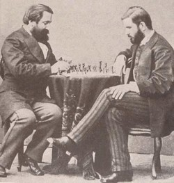 Georgian writers Ilia Chavchavadze and Ivane Machabeli playing chess, 1873 St Petersburg. Public domain photo. NOTE: despite careful license checks, the earlier photo inadvertently violated copyright and has been removed. Thank you and apologies.