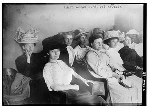 First woman jury, Los Angeles, 1911. Public Domain photo by the Library of Congress. Image sourced: flashfriday.wordpress.com