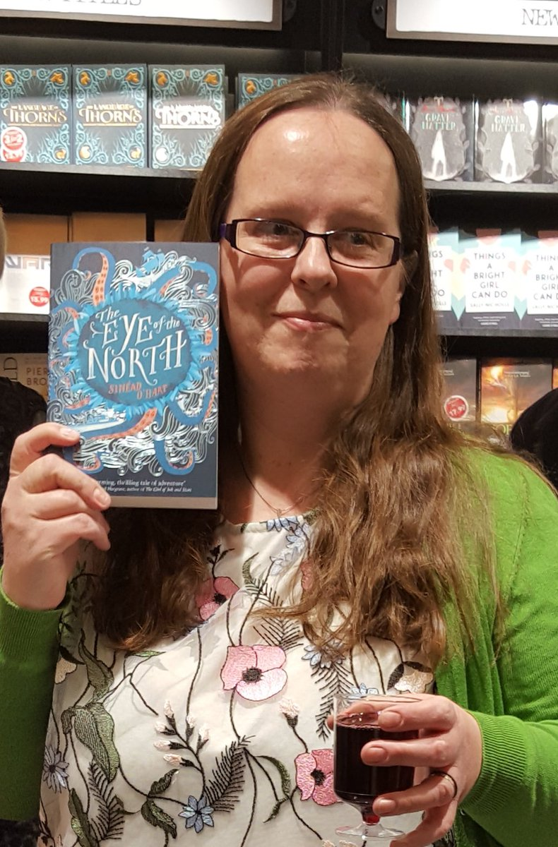 The author, modelling her book, at the launch of The Eye of the North. Photo credit: Jan Stokes