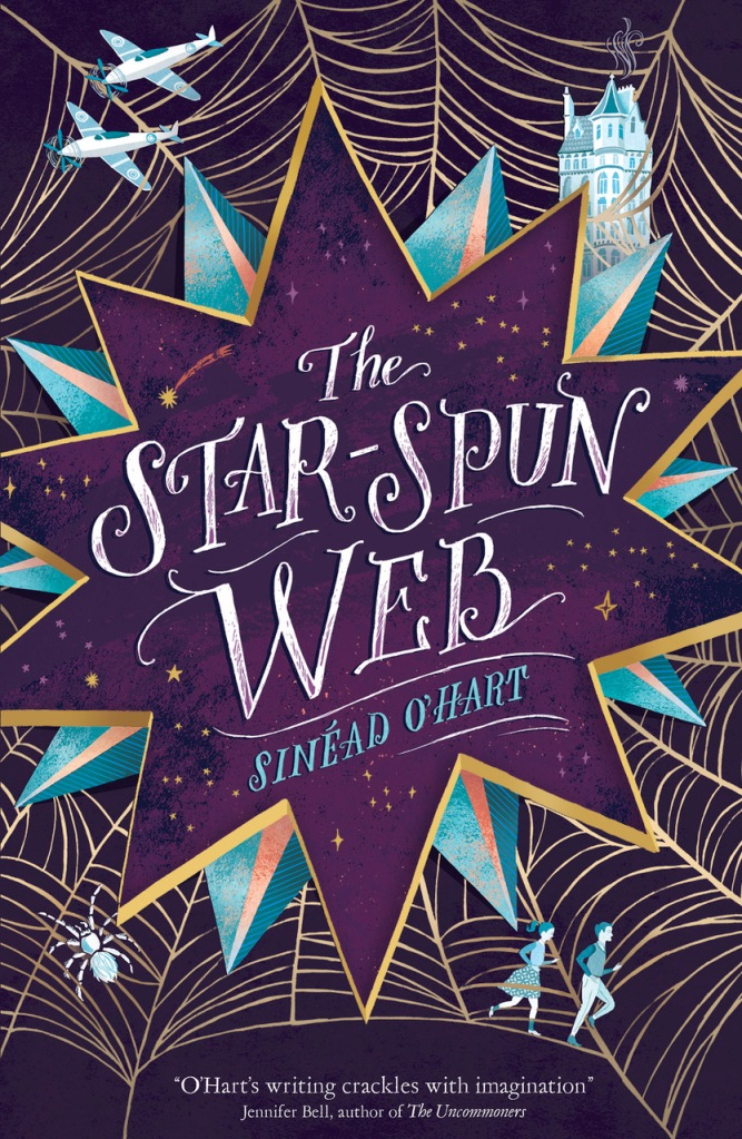 Front cover of children's book entitled The Star-Spun Web. Text enclosed in a large stylised star; a web lies behind the star. Tangled in the web, in the top right hand corner of image shows a building, top left hand shows two planes with propellers. Bottom right hand shows two running children, bottom left a spider.